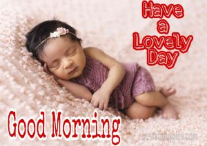 Cute little baby girl image with good morning wishes