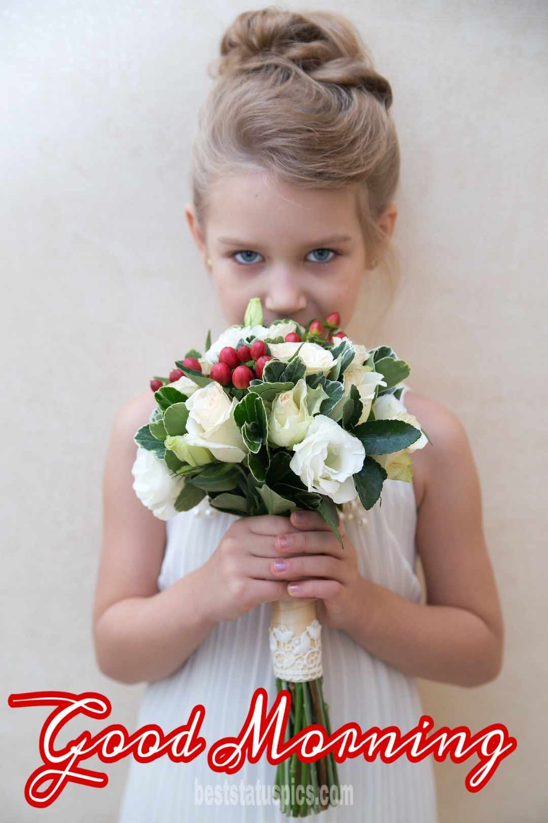 Cute Little girl good morning picture with flowers