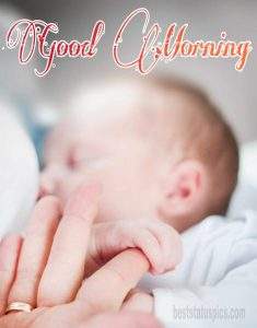 Cute baby sleeping and good morning wishes HD pic download