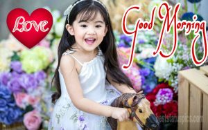 Good morning baby girl with love heart and flowers image
