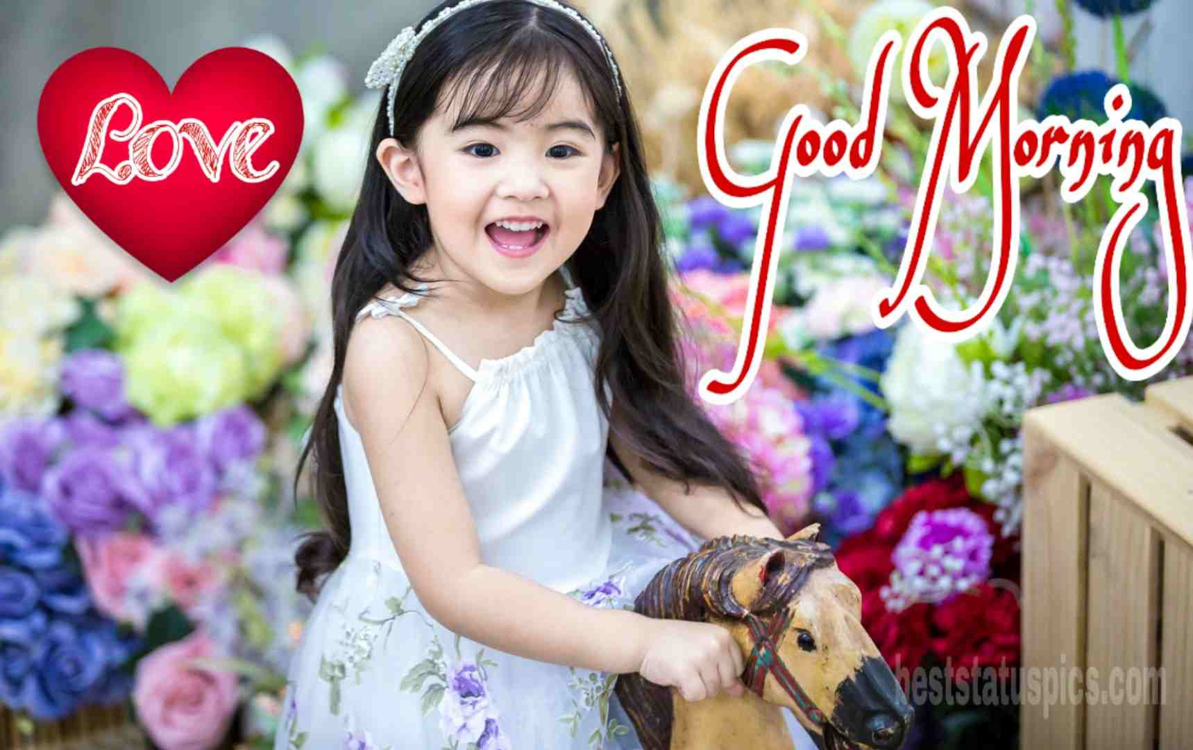 Good morning baby girl with love heart image