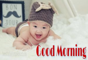 Funny baby with good morning image, gud morning pic