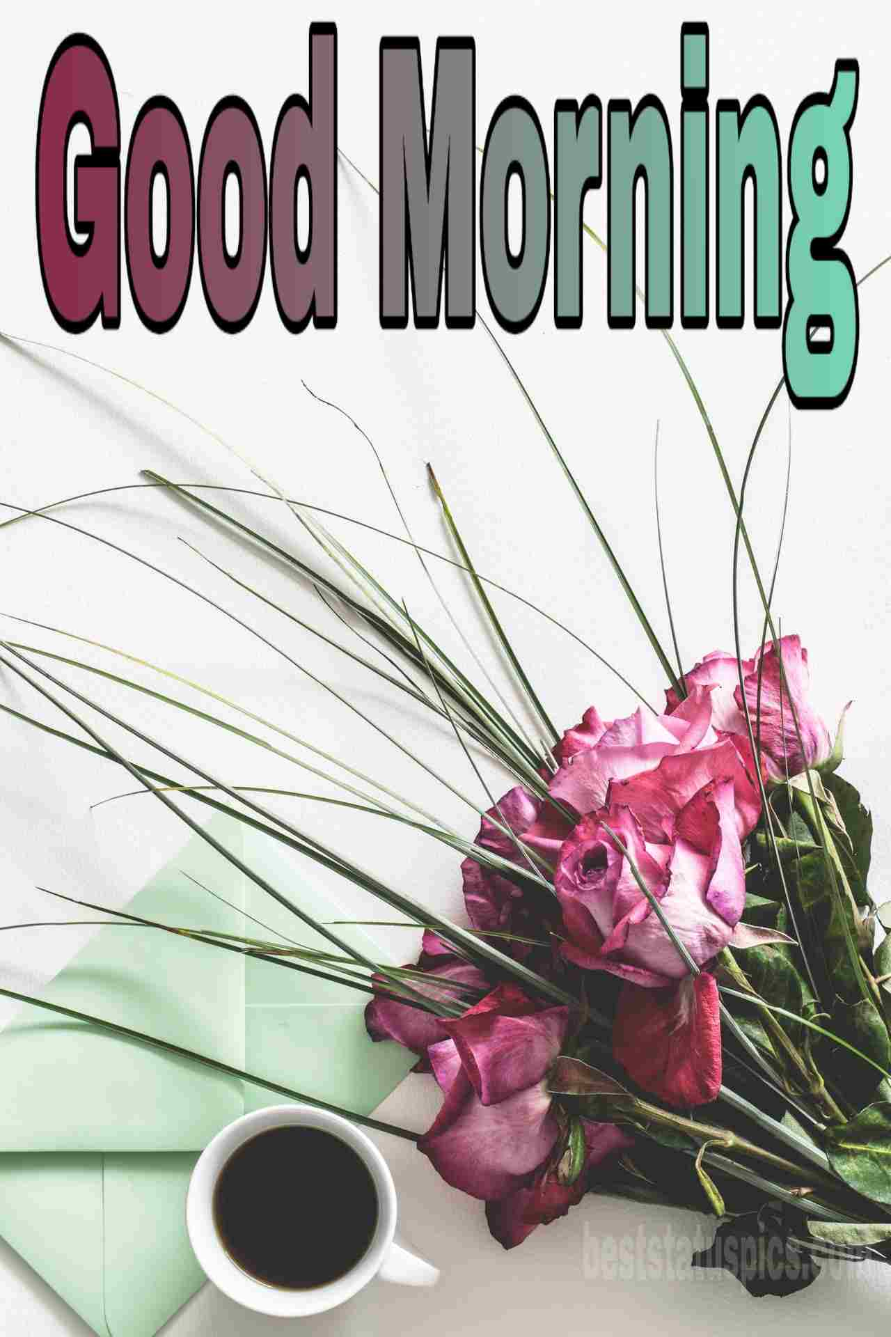 Good morning coffee and red rose buke picture for girlfriend