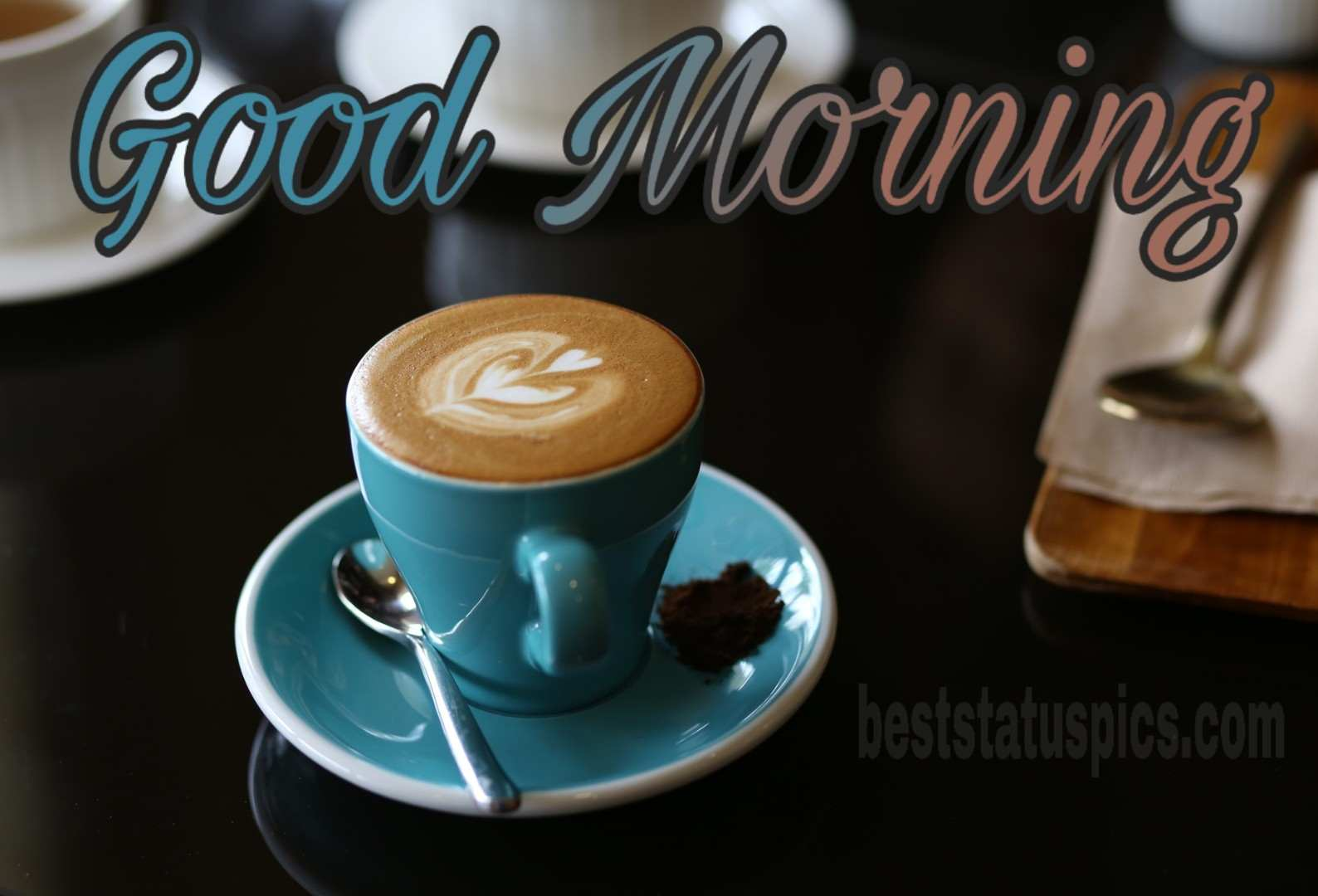 Good morning picture with coffee cup and love heart symbol