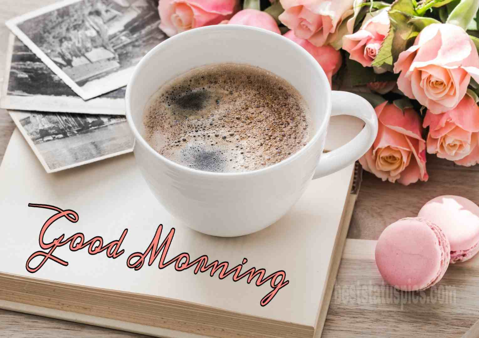 whatsapp dp good morning gm coffee with pink rose flowers
