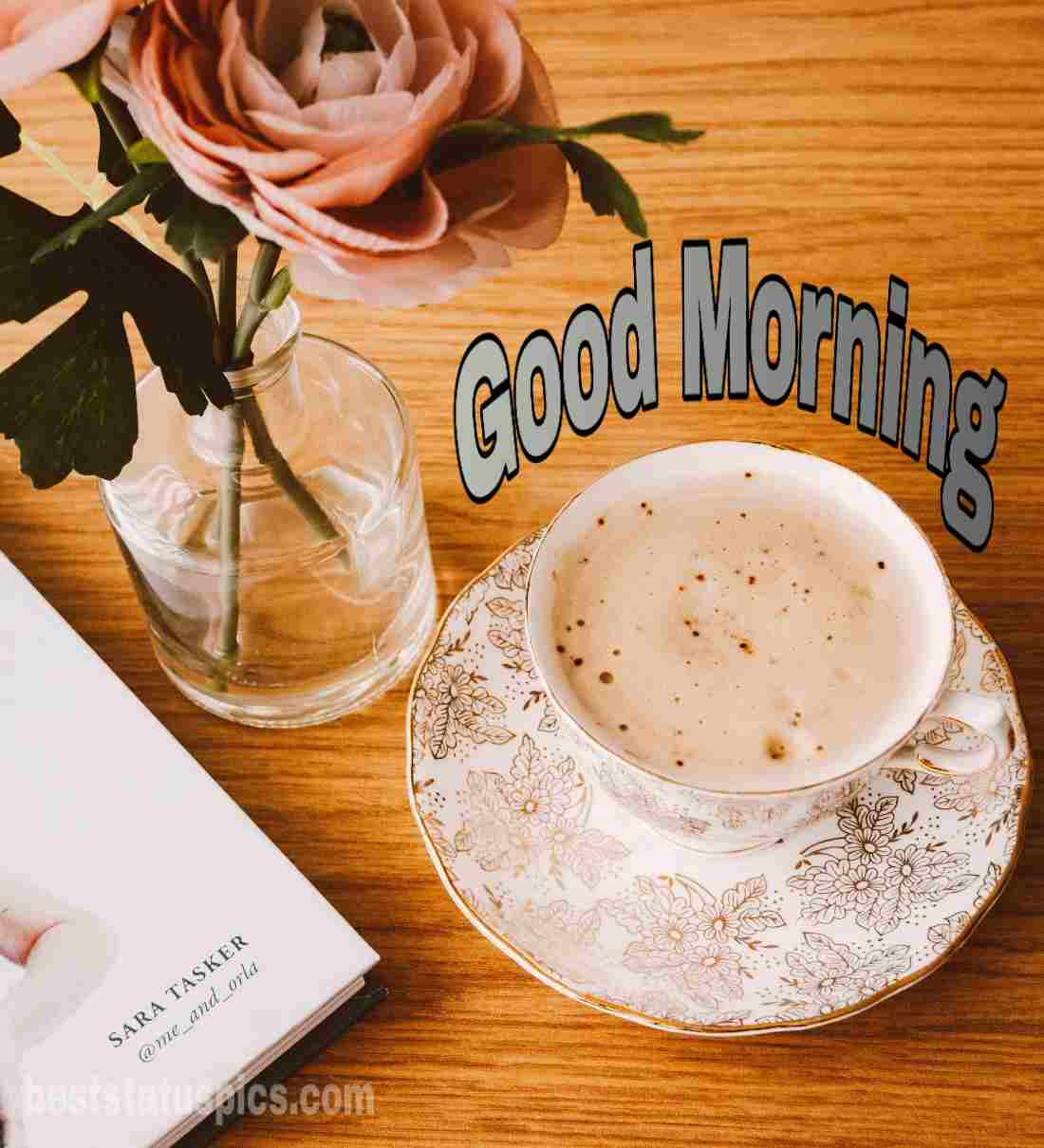 good morning coffee with cup and pink rose pic