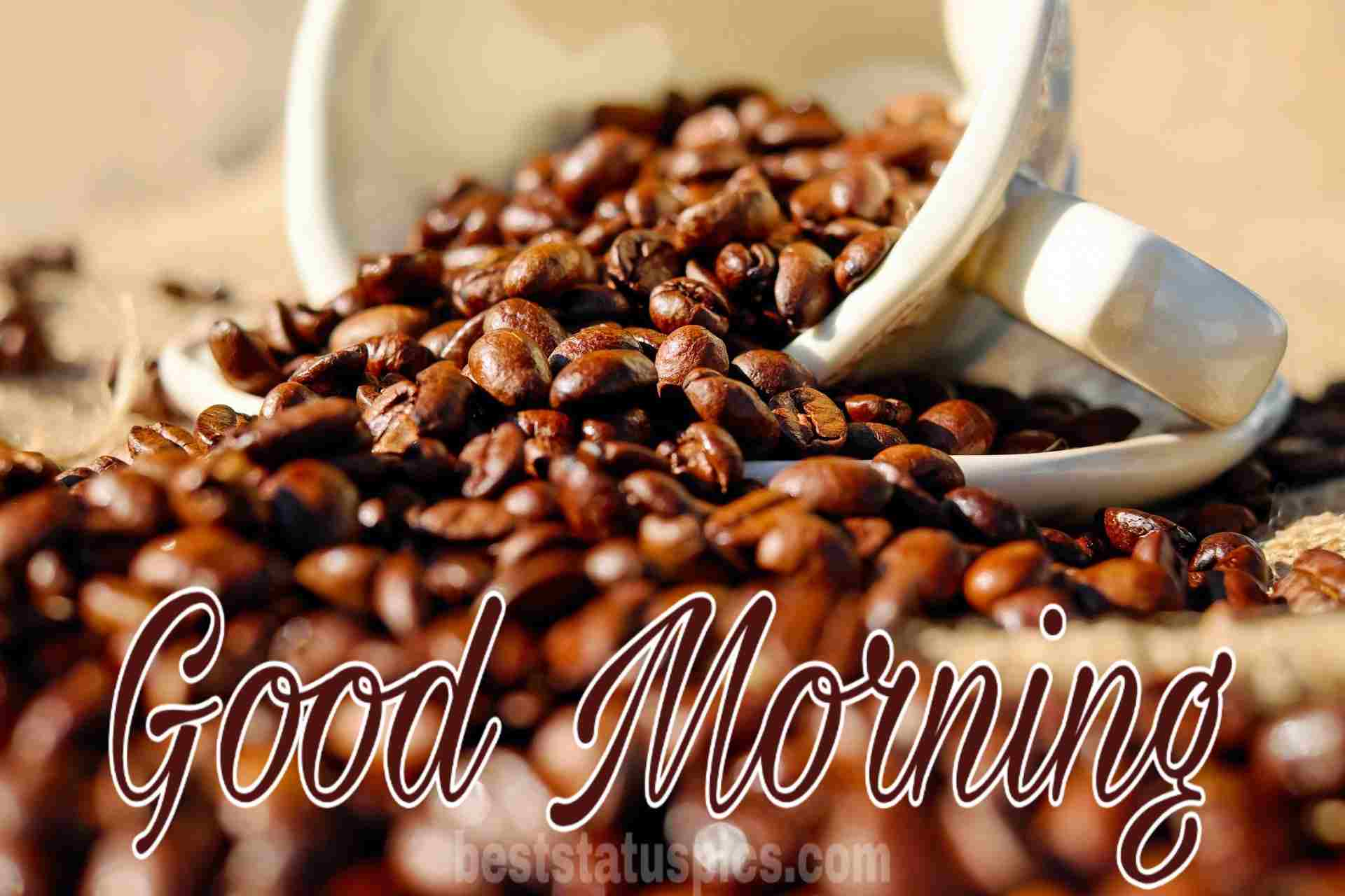 Good morning wishes with coffee cup pic