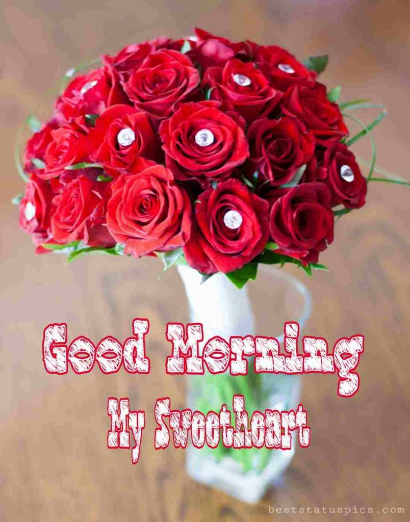 Good morning my sweetheart with rose buke picture