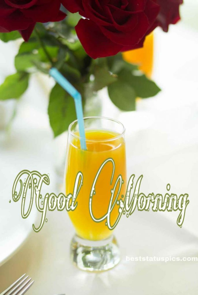 Good morning wish with rose and juice photo