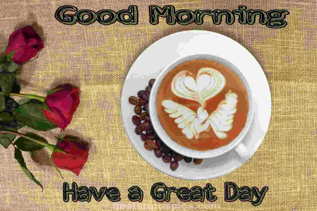 Rose and coffee cup with Good morning have a great day