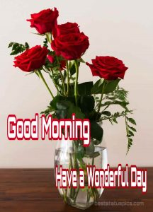 Rose flowers vase with Good morning image