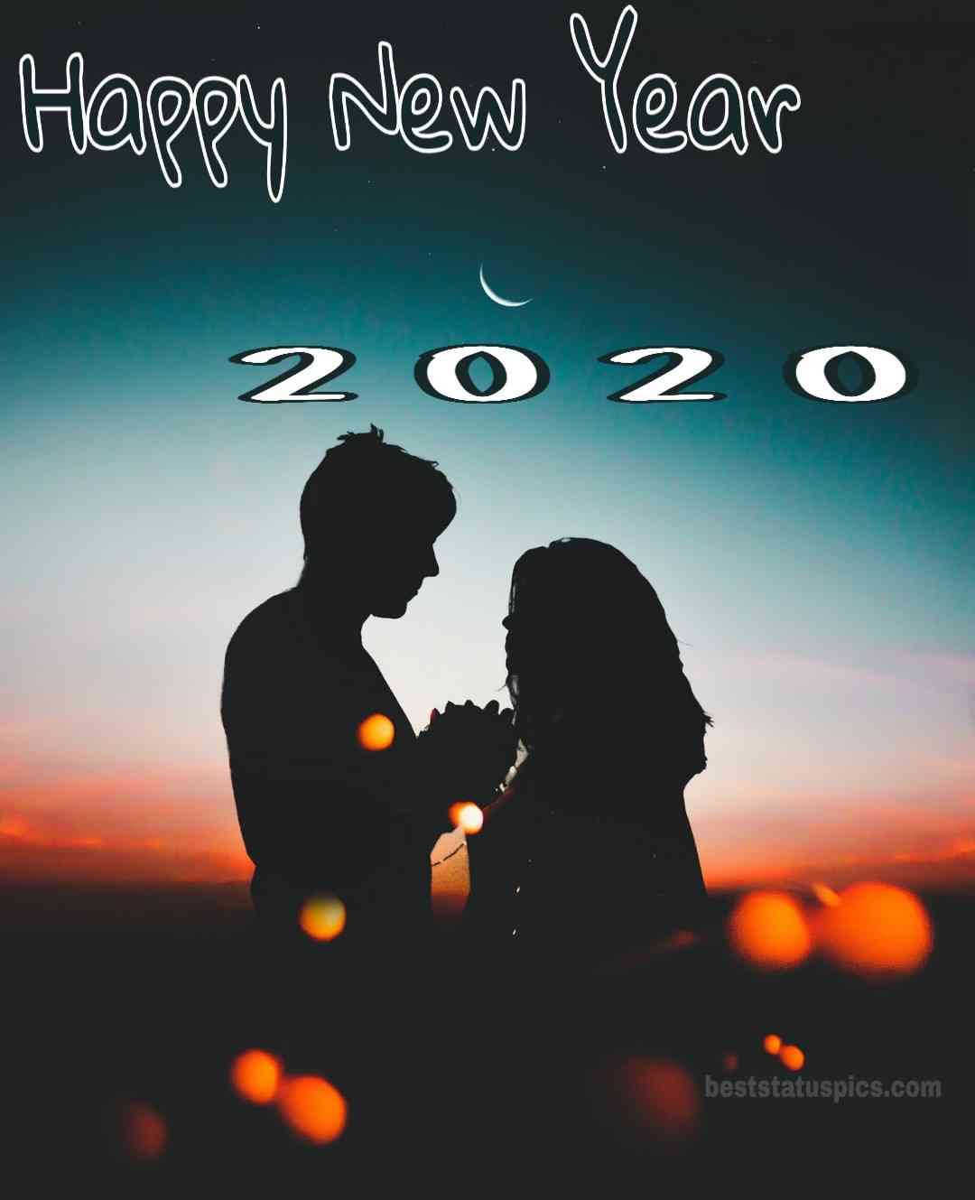 Happy New Year 2020 Image with lovely couple Moon Whatsapp