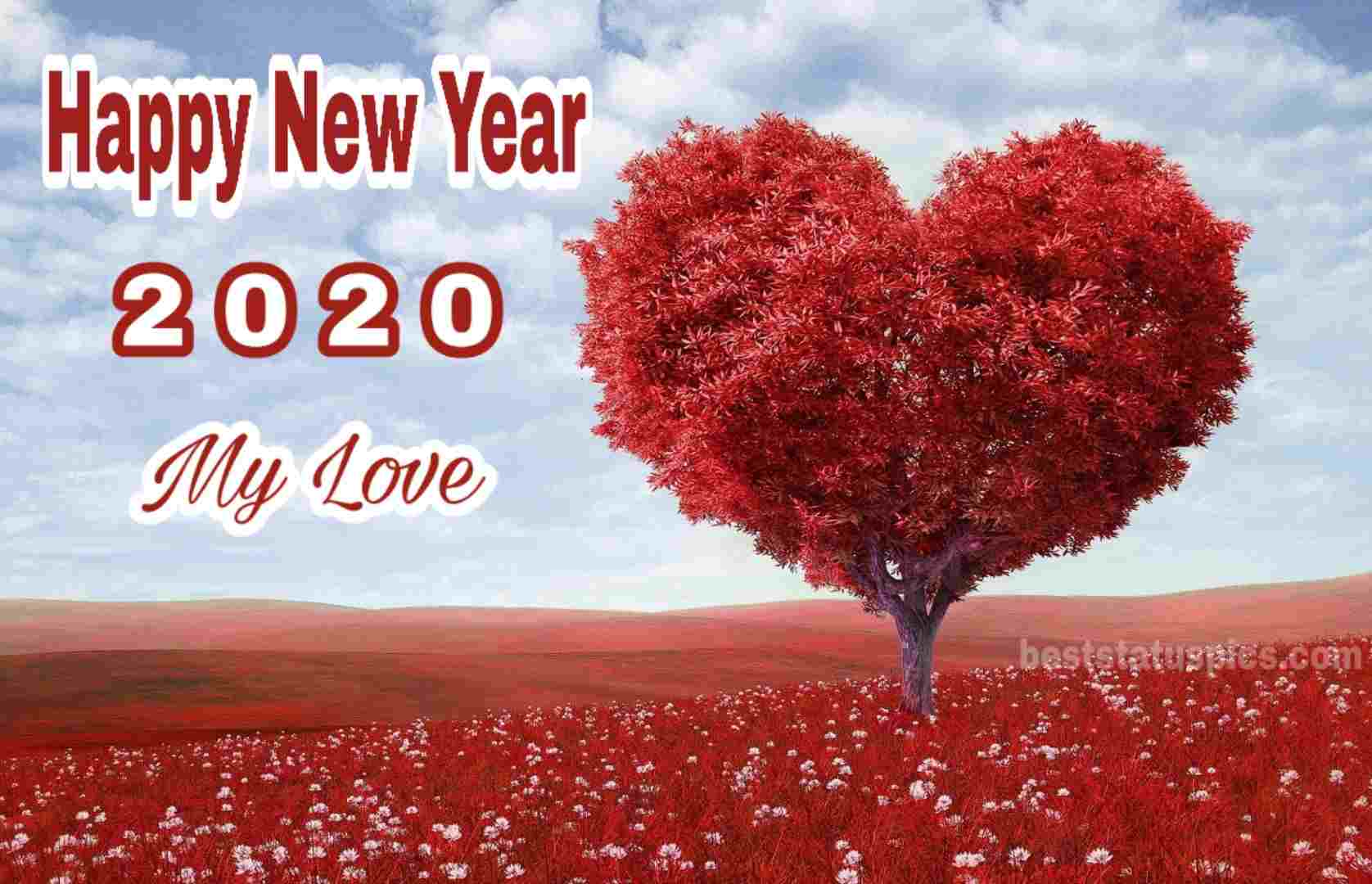 Happy New Year 2020 Image with love heart flowers