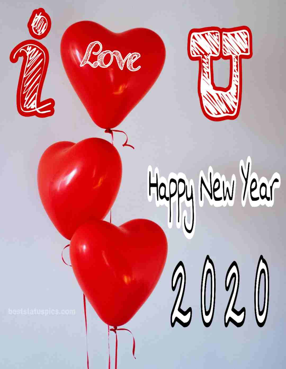 Happy New Year 2020 Image with I love you heart