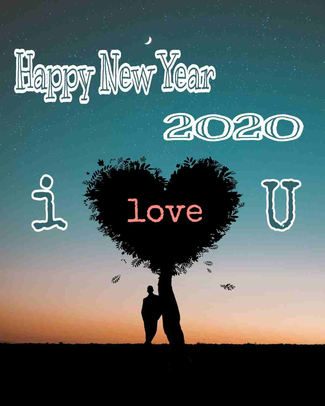 Happy New Year 2020 Image with I love you moon couple