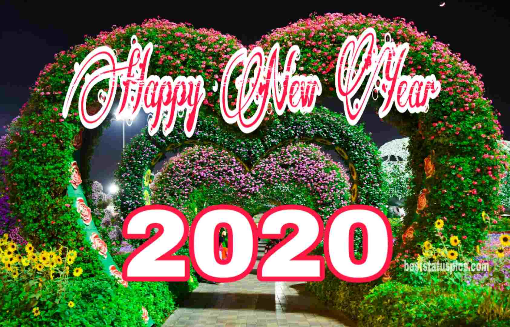 Happy New Year 2020 Image with love heart for Whatsapp
