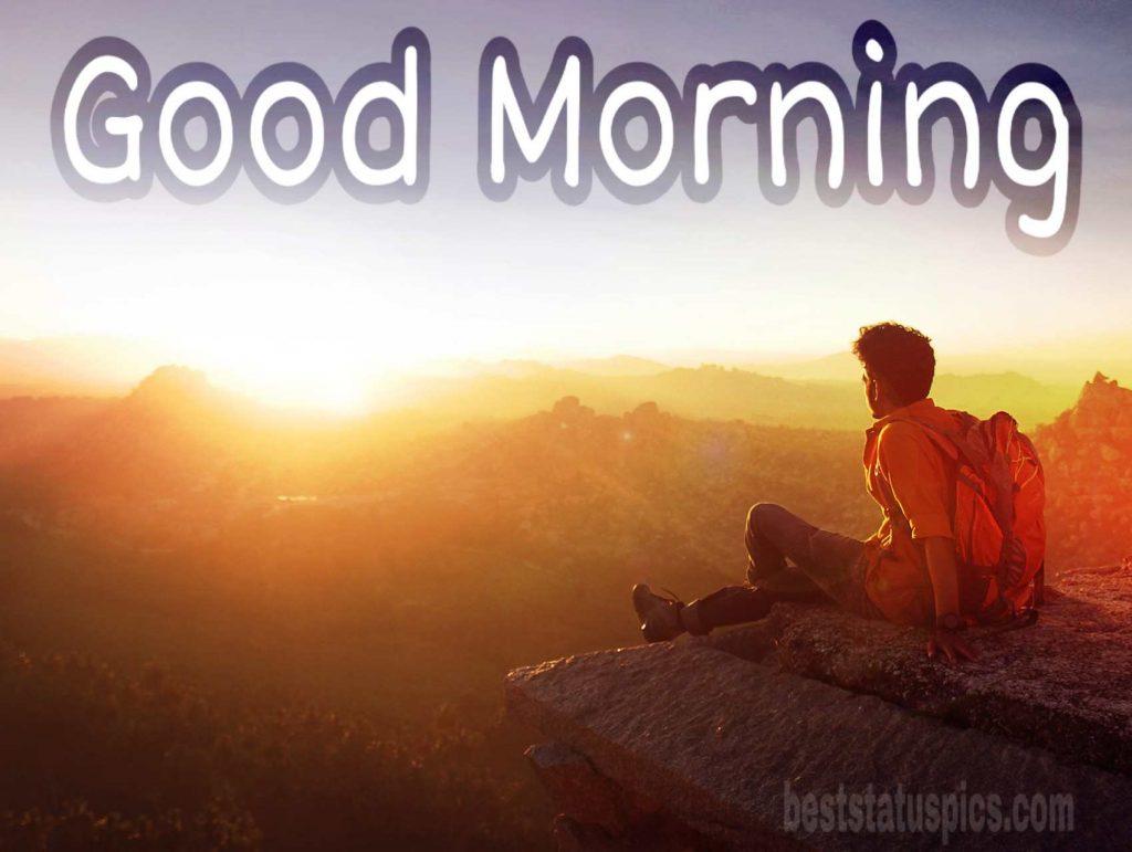 Mountain sunrise with good morning