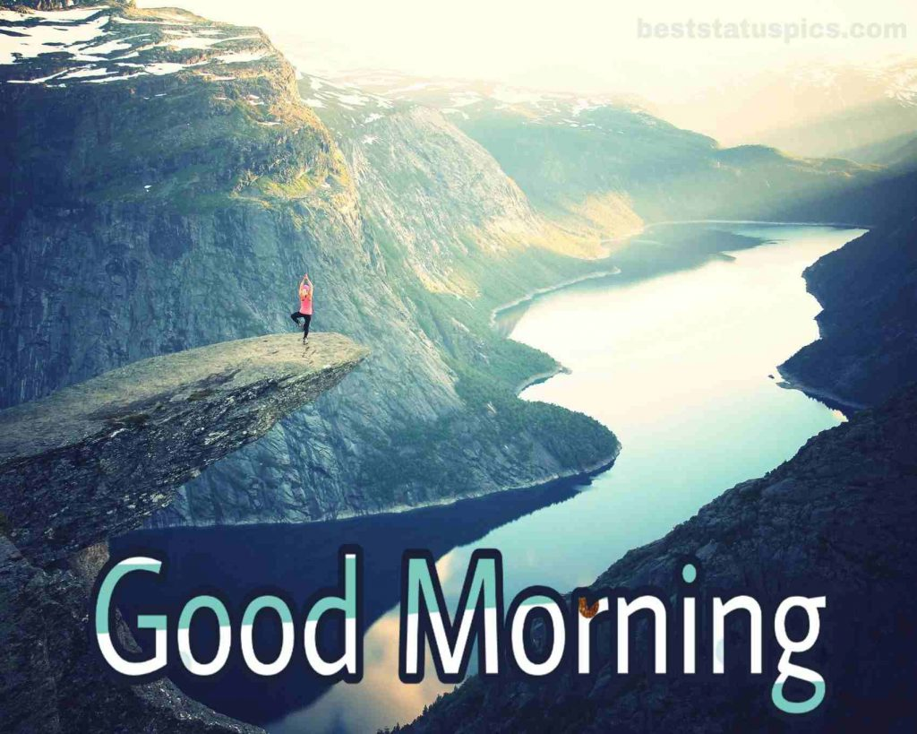 Mountain river with good morning wish