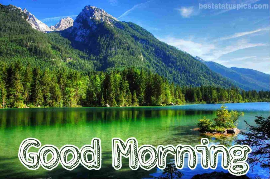 Good morning with mountain river