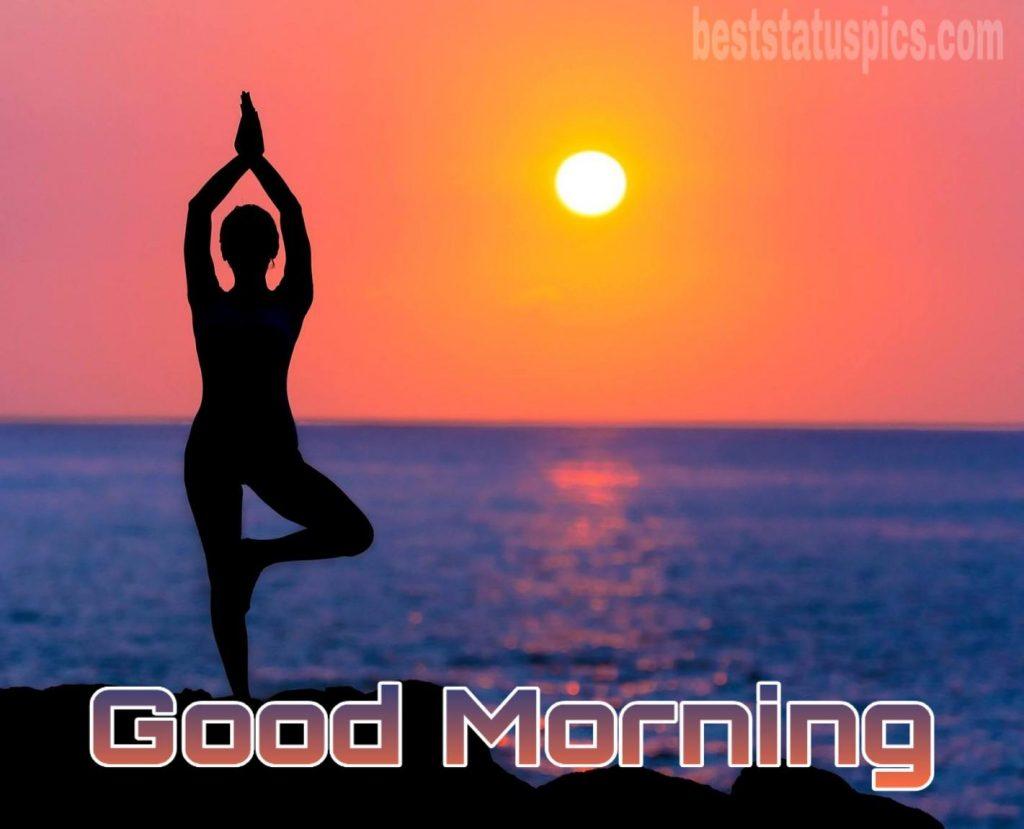 Good morning sunrise image with yoga