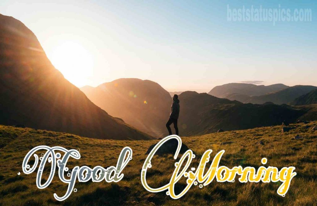 Free sunrise good morning images with mountains