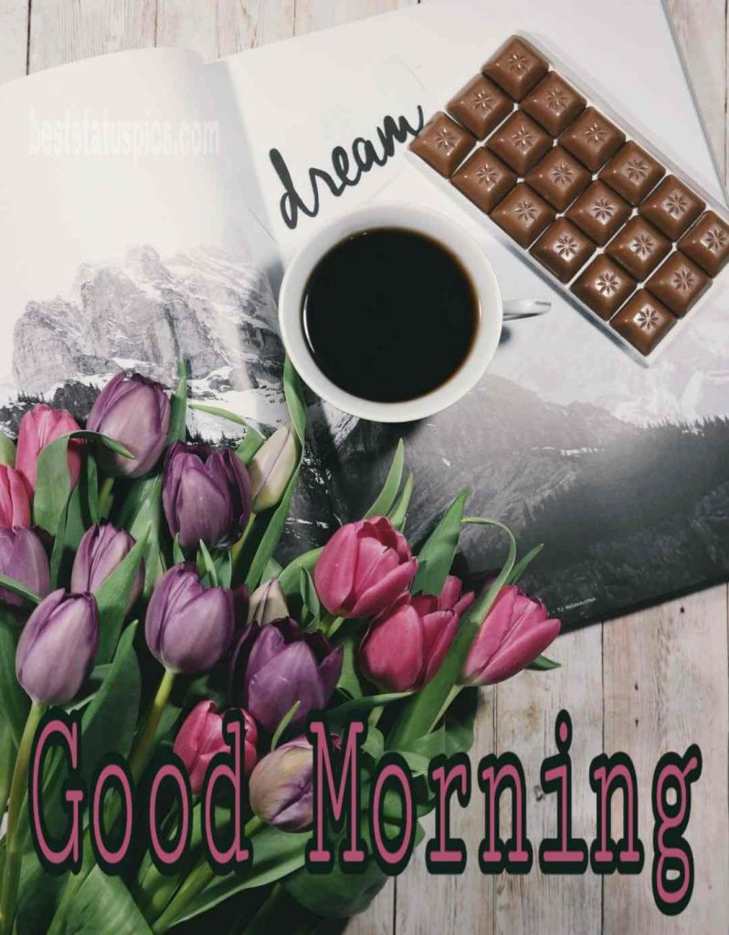 Good morning rose bouquet image with coffee chocolate