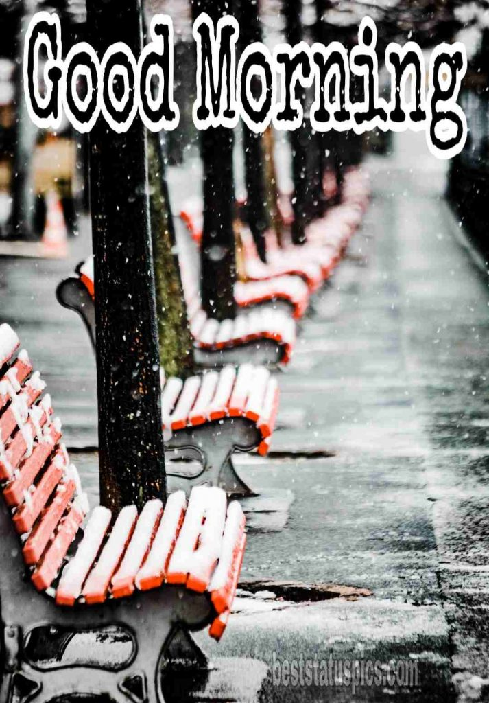 Good morning image with winter snow