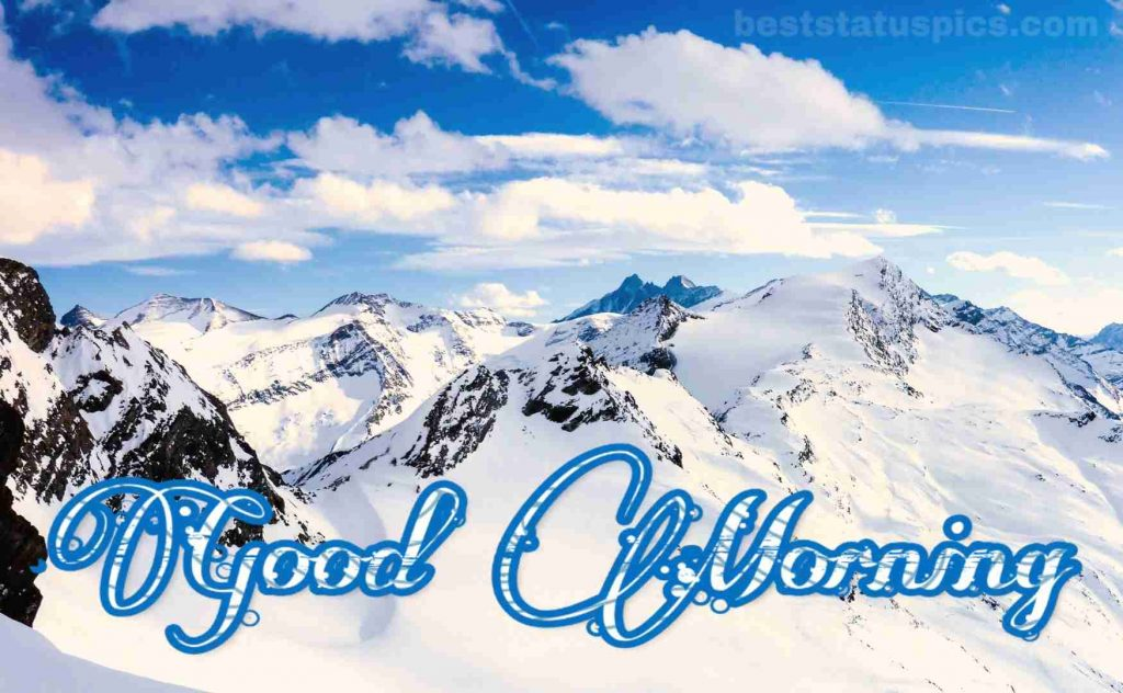 Good morning nature photo with snow mountain hd