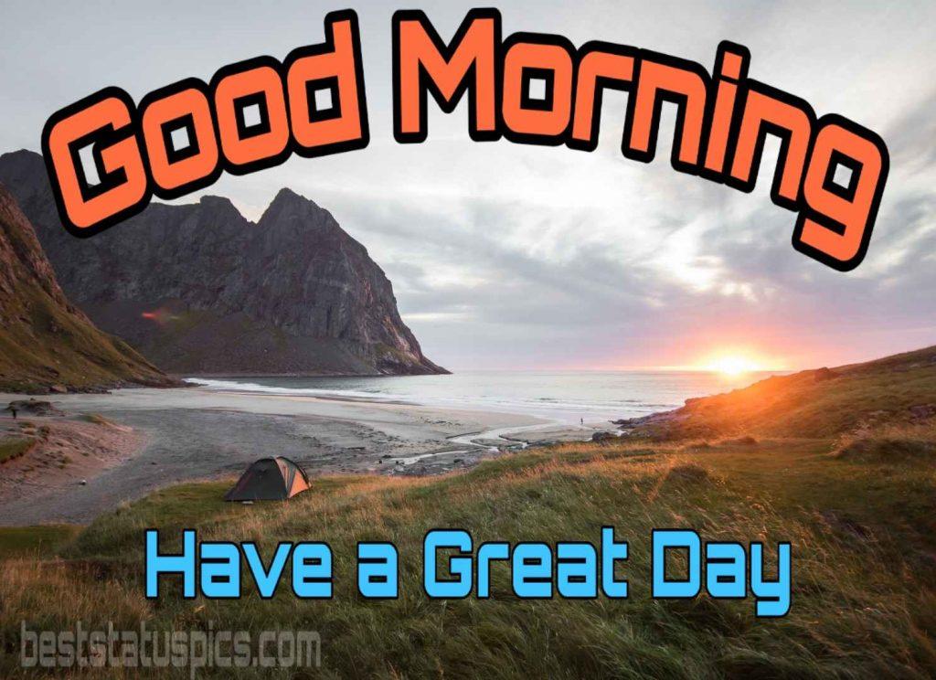 Good morning image of sea, mountain and sunrise