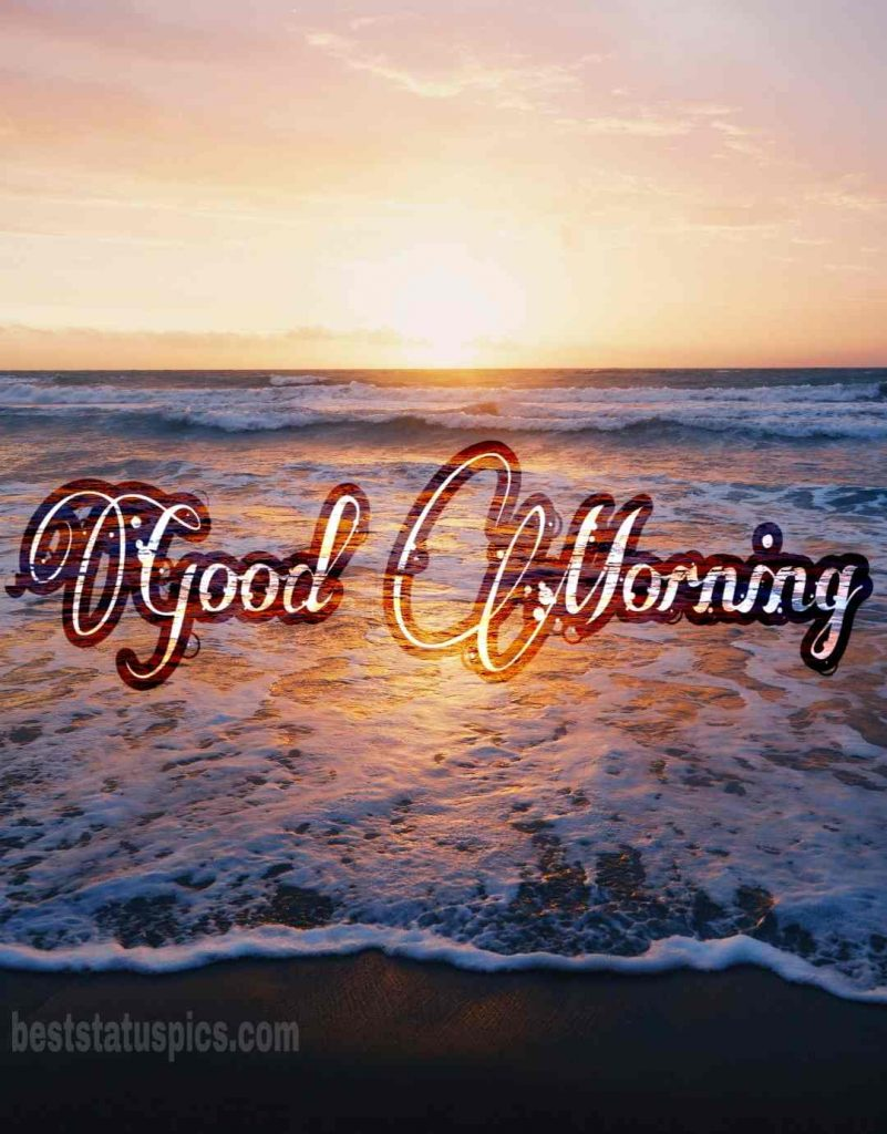 Good morning sunrise image with ocean and seashore