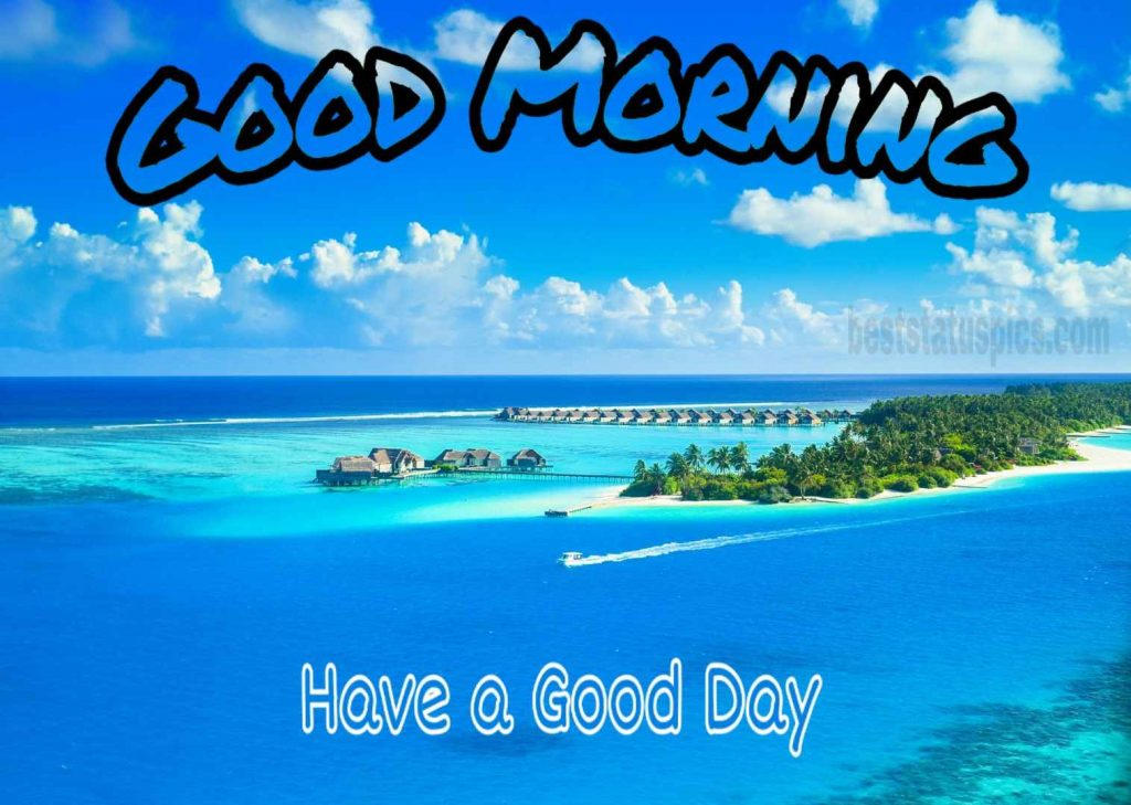 Good morning image with sea view