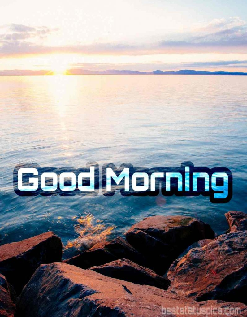 Good morning image with sea beach and sunrise
