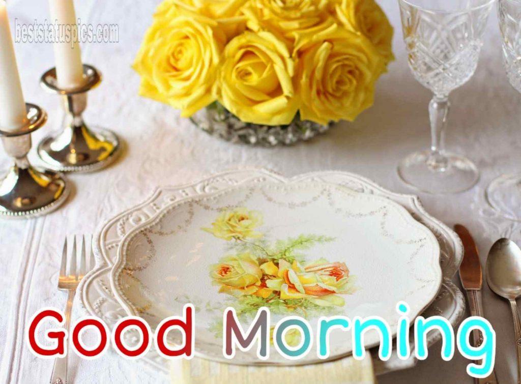 Good morning romantic yellow rose image