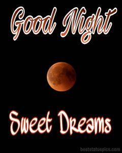 Good night yellow moon image