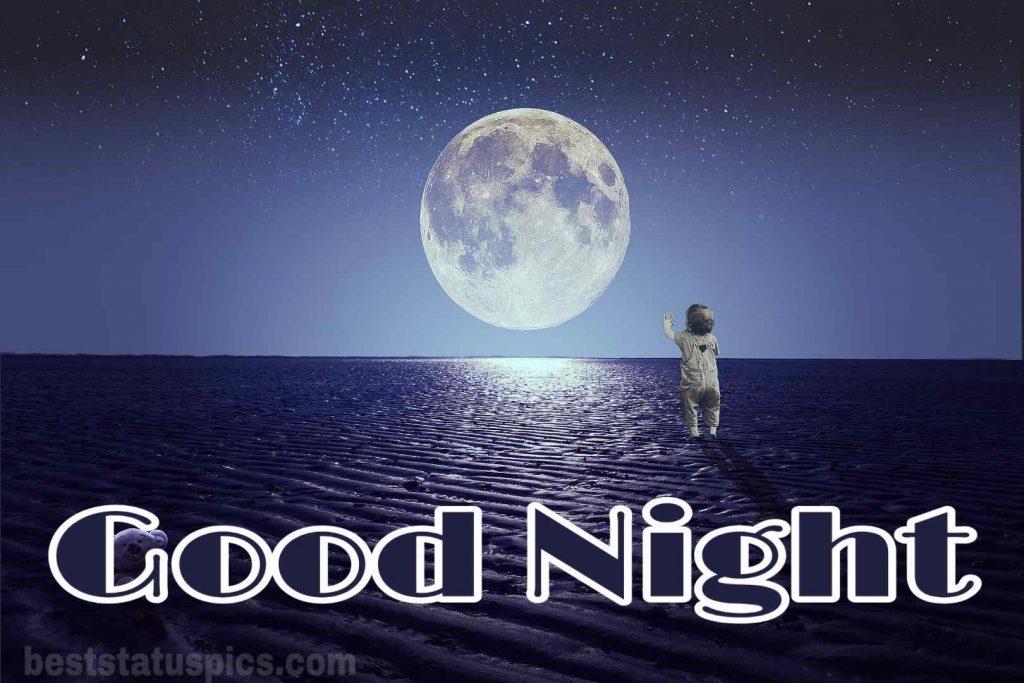 Good night beautiful moon image