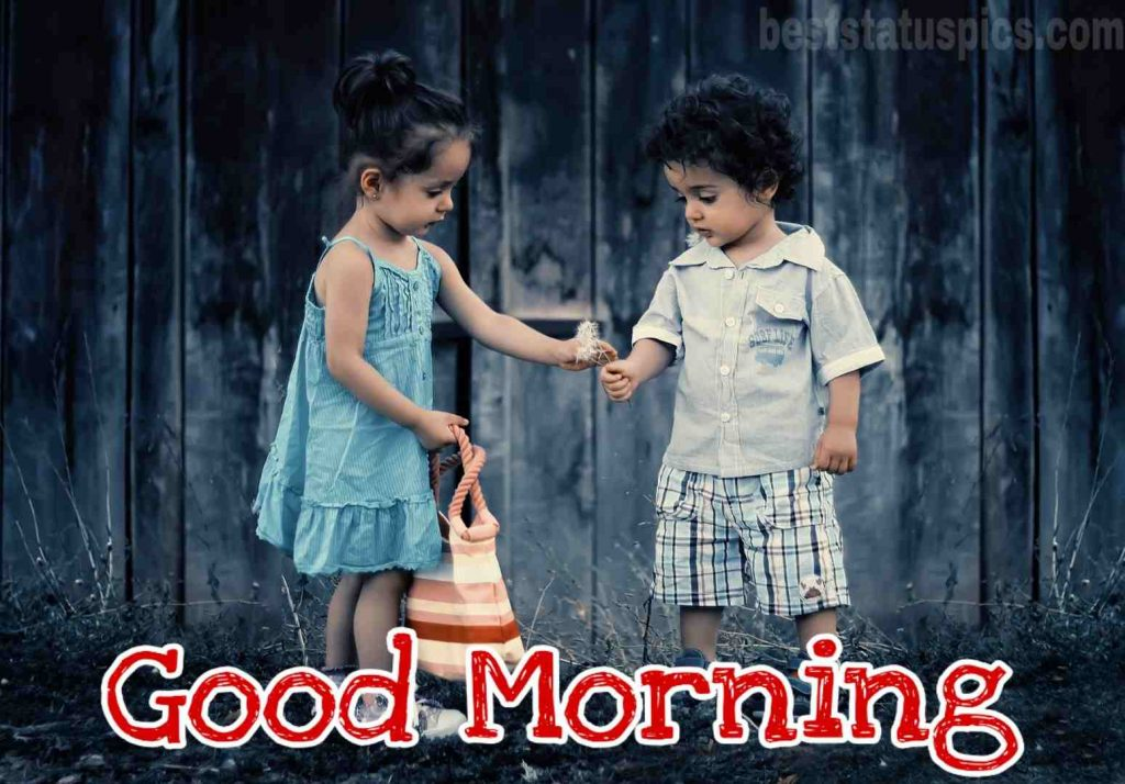 Good morning cute baby couple image