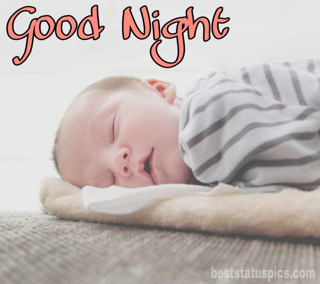 Lovely cute baby good night image with sleeping