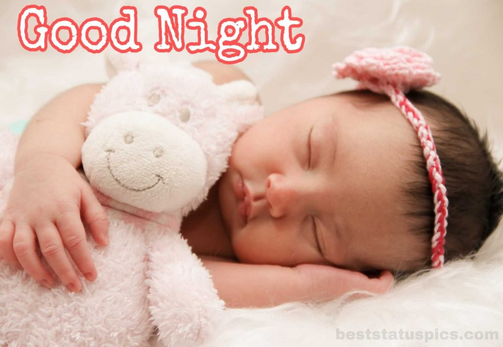 Good night baby girl image hd with sleeping