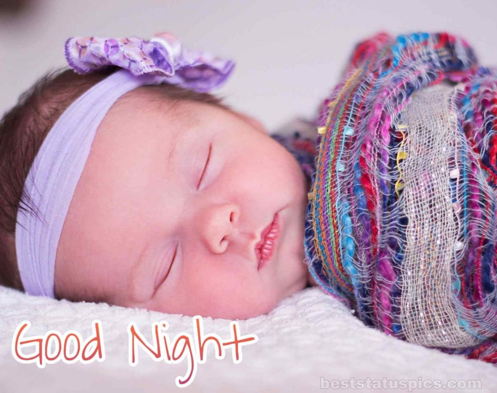 Baby girl good night picture HD with sleeping