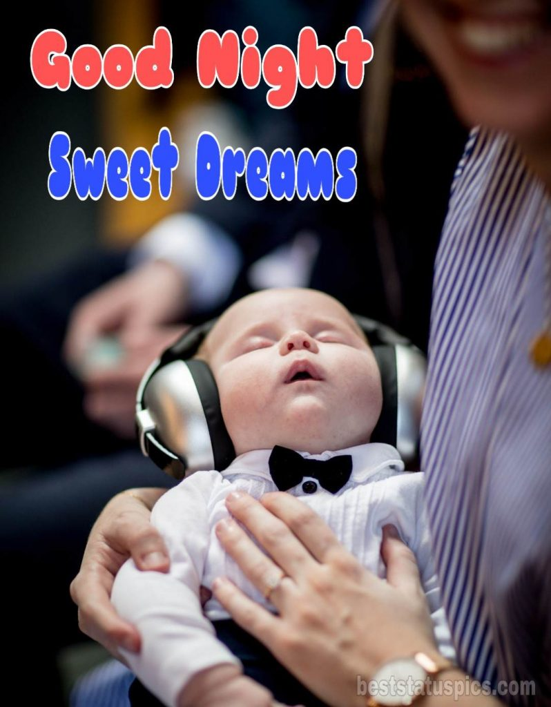 Very cute baby good night image with sleeping