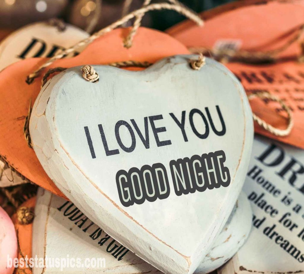 Good night I love you photo with heart