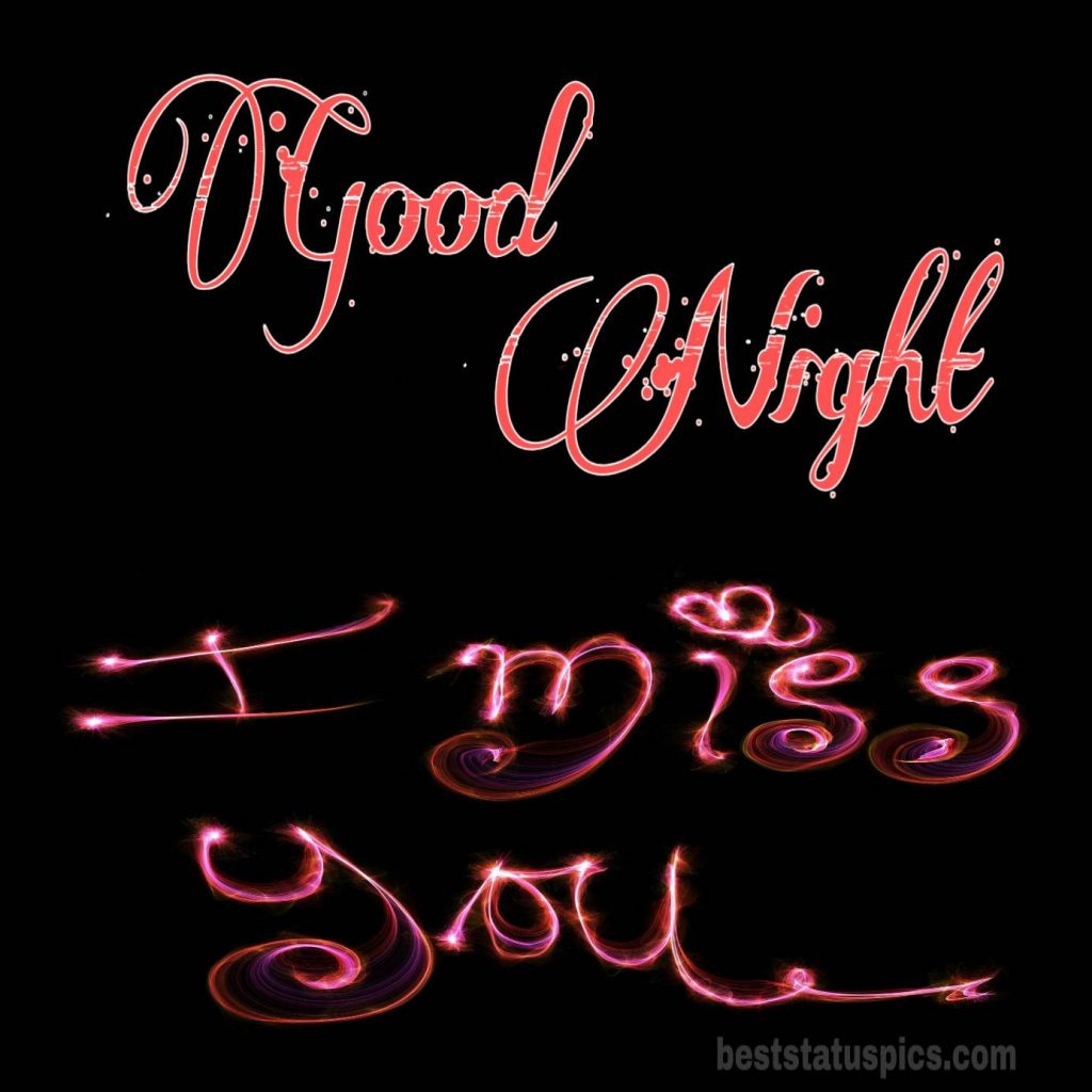 Good night miss you photo with love