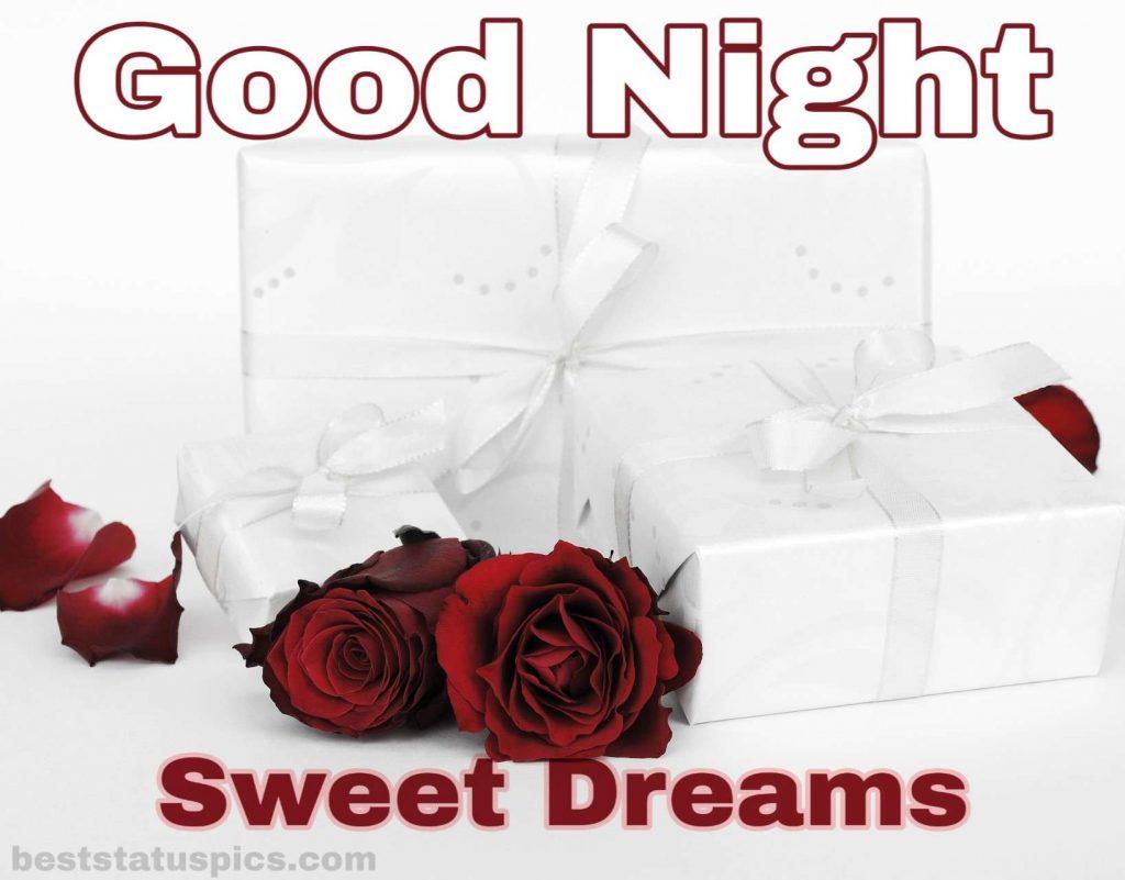 Romantic good night rose images