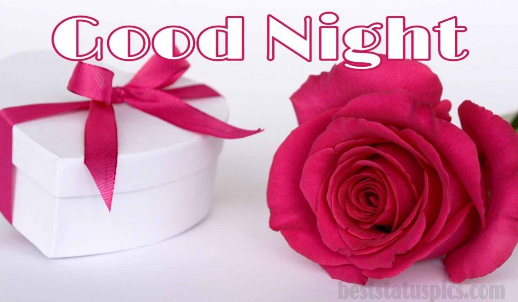 Romantic good night single rose images HD