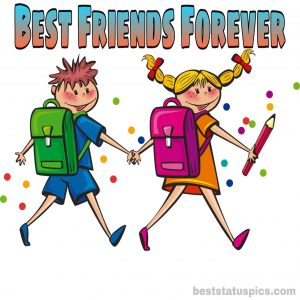 Best friends going to school image with best friends forever whatsapp dp status