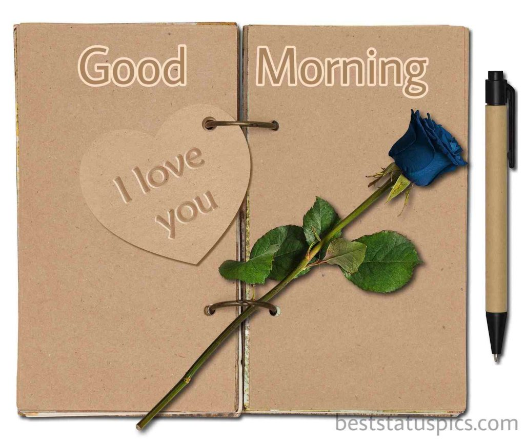i love you good morning photo with blue rose for lover girlfriend