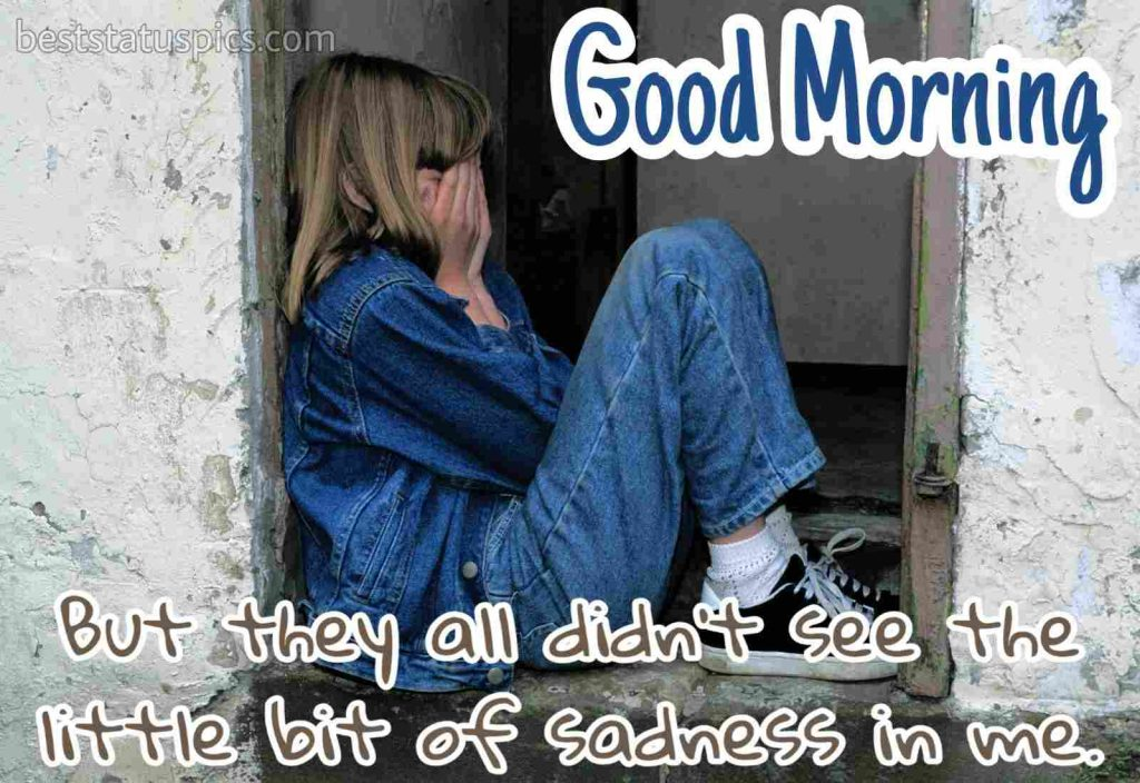 good morning images with sad mood of sitting girl