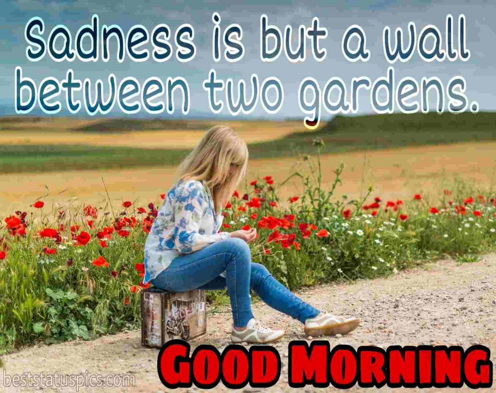 good morning sad images HD with girl sitting in a garden