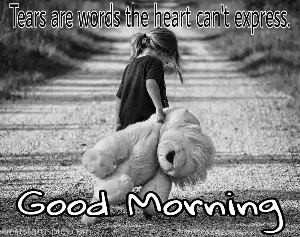 Good morning wishes and a sad girl with a teddy bear