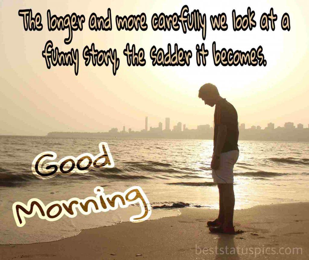 A boy standing beside sea enjoying sunrise image with good morning wishes